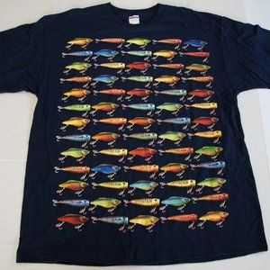 Men's Big Graphic Fishing Tee XL Navy